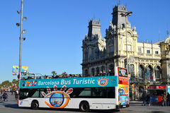 Barcelona Bus Touristic. Bus Touristic in Port Vell in Barcelona, Spain Stock Images