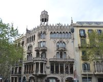 barcelona byggnad spain Arkivfoto