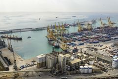 Barcelona cargo and commercial port royalty free stock images