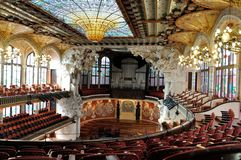 Barcelona catalan music palace. The Palau de la Musica Catalana, Palace of Catalan Music is a concert hall in Barcelona, Catalonia, Spain. Designed in the royalty free stock photos