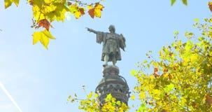 BARCELONA, CATALONIË - JULI ZESENTWINTIGSTE 2017: Christopher Columbus-monument in Barcelonetta stock footage