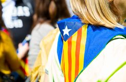 Peaceful demonstration in Catalonia for freedom Royalty Free Stock Images