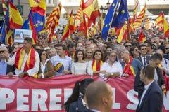 BARCELONA, CATALONIA, ESPANHA, o 8 de outubro de 2017 manifestação pela unidade de Espanha fotos de stock