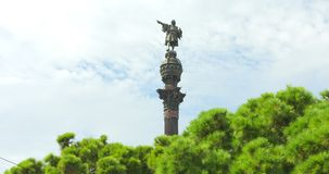 BARCELONA, CATALONIA - JULY 26th 2017: Christopher Columbus monument in Barcelonetta stock video footage
