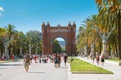 Arc Triomphe. BARCELONA, CATALONIA, SPAIN - AUGUST 10, 2017. Arc de Triomf Triumphal Arch, near Parc de la Ciutadella. Barcelona, Spain Stock Image