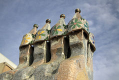 Chimneys of Dragon terrace of the Casa Batllo building Royalty Free Stock Image