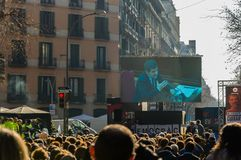 Barcelona, Catalonia/Spain - february 21 2019: Strike to support politics prisoners