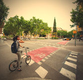Barcelona, Catalonia, Spain, 13.06.2014, the intersection of hig Royalty Free Stock Image
