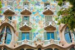 Famous Casa Batllo in Barcelona. Barcelona, Catalonia, Spain - JUNE, 2016. View on famous house Casa Batllo in Barcelona, built in 1877 and rebuilt by the Stock Photography