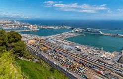 Shipping port in Barcelona, aerial view. BARCELONA, CATALONIA, SPAIN, March, 2018: Aerial view of cargo and shipping port with containers, port Vell and cruise stock photos