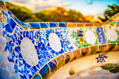 Barcelona, Catalonia, Spain: mosaic in the Park Guell of Antoni Gaudi Royalty Free Stock Images