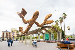 Giant lobster sculpture at Port Vell, in Barcelona, Spain Stock Images