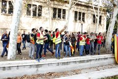 Barcelona, Catalonia, Spain, October 27, 2017: people celebrates vote to declare independence of Catalunya near Parc Ciutadella Stock Photography