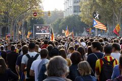 Barcelona, Catalonia, Spain, October 27, 2017: people celebrates vote to declare independence of Catalunya near Parc Ciutadella stock image