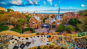 Barcelona, Catalonia, Spain: the Park Guell of Antoni Gaudi royalty free stock photos