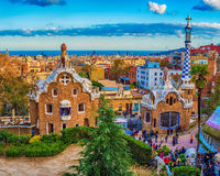 Barcelona, Catalonia, Spain: the Park Guell of Antoni Gaudi. At sunset Royalty Free Stock Images