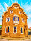 Barcelona, Catalonia, Spain: the Park Guell of Antoni Gaudi. At sunset Stock Photo