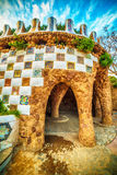 Barcelona, Catalonia, Spain: the Park Guell of Antoni Gaudi. At sunset Royalty Free Stock Photos