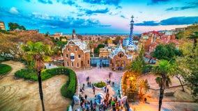 Barcelona, Catalonia, Spain: the Park Guell of Antoni Gaudi. At sunset stock photos