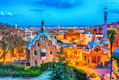 Barcelona, Catalonia, Spain: the Park Guell of Antoni Gaudi. At sunset Royalty Free Stock Photography