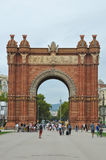 BARCELONA, CATALONIA SPAIN - SEPTEMBER 2016: tourists near Triumph Arch, Arc de Triomf Stock Photos