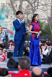 Barcelona, Catalonia, Spain. 04 st Feb, 2017. Presenters of the. Chinese new year parade in Barcelona Royalty Free Stock Images