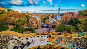 Barcelona Catalonia, Spanien: parkera Guell av Antoni Gaudi Royaltyfria Foton