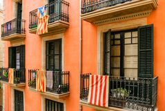 Barcelona Catalonia. View of the opposite side of the street. stock photos