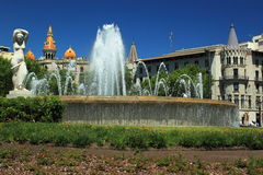 barcelona catalunya de plaza Royaltyfria Bilder