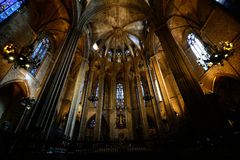 Barcelona Cathedral, Barcelona. The Cathedral of the Holy Cross and Saint Eulalia, also known as Barcelona Cathedral, is the Gothic cathedral and seat of the Stock Photo