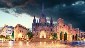 Barcelona - Cathedral, Barri Gothic Quarter, Time lapse stock video