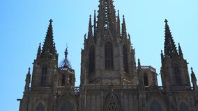 Barcelona Cathedral, Catedral de Barcelona . general view. Barcelona Cathedral Catedral de Barcelona. general view in sunny day. Cathedral of the Holy Cross and stock video footage