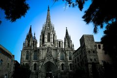 Dramatic shot of a gothic Catholic church. Barcelona Cathedral framed by evergreen trees Stock Images