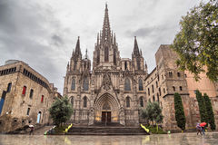 Barcelona Cathedral, located in Gothic Quarter. In rainy morning Stock Image