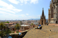 Barcelona Cathedral and Old Town Barcelona, Spain Stock Images