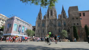 Barcelona Cathedral in Spain stock video footage