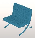 Barcelona chair. Wire frame mies van der Rhoe' barcelona chair Stock Image