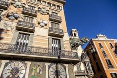Barcelona. Chinese dragon on House of Umbrellas (Casa Bruno Cuad. Ros) building on La Rambla. Catalonia, Spain Stock Image