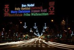 Barcelona Christmas lights Royalty Free Stock Photo