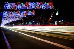Barcelona Christmas lights Royalty Free Stock Photos