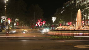 Barcelona Christmas Street Lights Decorations and Traffic 4k stock footage