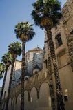 Barcelona church and palm trees Stock Images