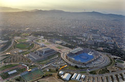 Barcelona City. Aerial view of Barcelona with the Olympic Ring first Stock Photography