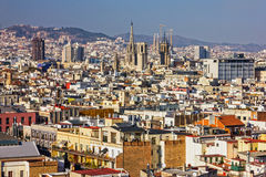 Barcelona city aeral panoramic view, Spain Royalty Free Stock Images