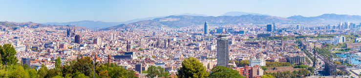 Barcelona city aeral panoramic view, Spain Stock Image