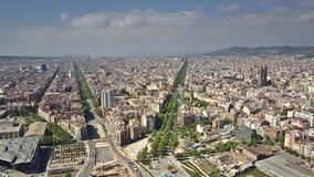 Barcelona city aerial view on a sunny day, Spain. Barcelona city aerial view on a sunny day royalty free stock images