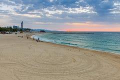 Barcelona. City beach at dawn. Royalty Free Stock Photo