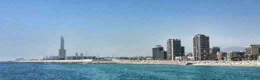 Barcelona city beach. Panoramic photo of Barcelona beach Stock Image