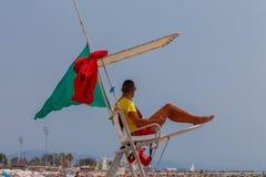 Barcelona. City Beach. Barcelona, Spain - July 15, 2016 : A lifeguard on a public beach in the Poblenou area. Barcelona. Spain Royalty Free Stock Image