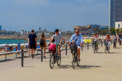 Barcelona. City Beach. Barcelona, Spain - July 15, 2016 : People rest on beach in the area Pablenou. Barcelona. Spain Royalty Free Stock Image